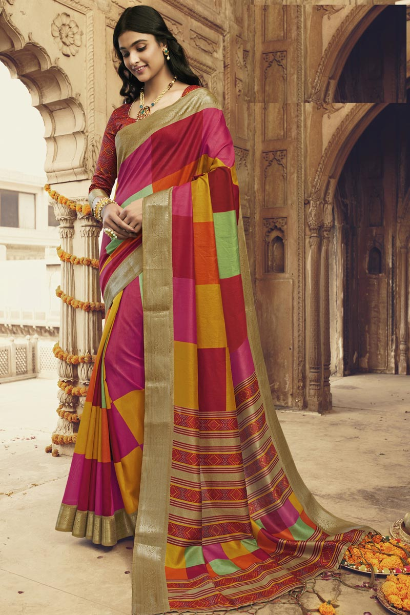 Art Silk Fabric Regular Wear Fancy Printed Saree In Multi Color