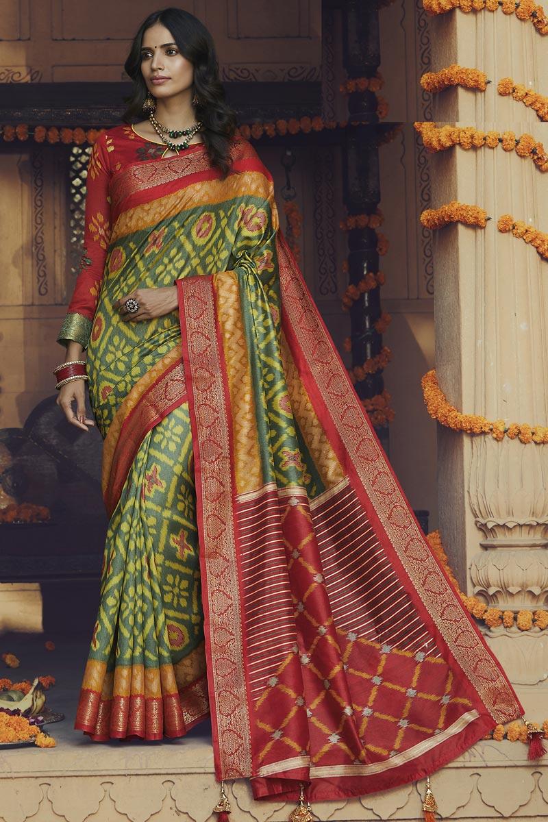 Art Silk Fabric Regular Wear Yellow Color Fancy Printed Saree