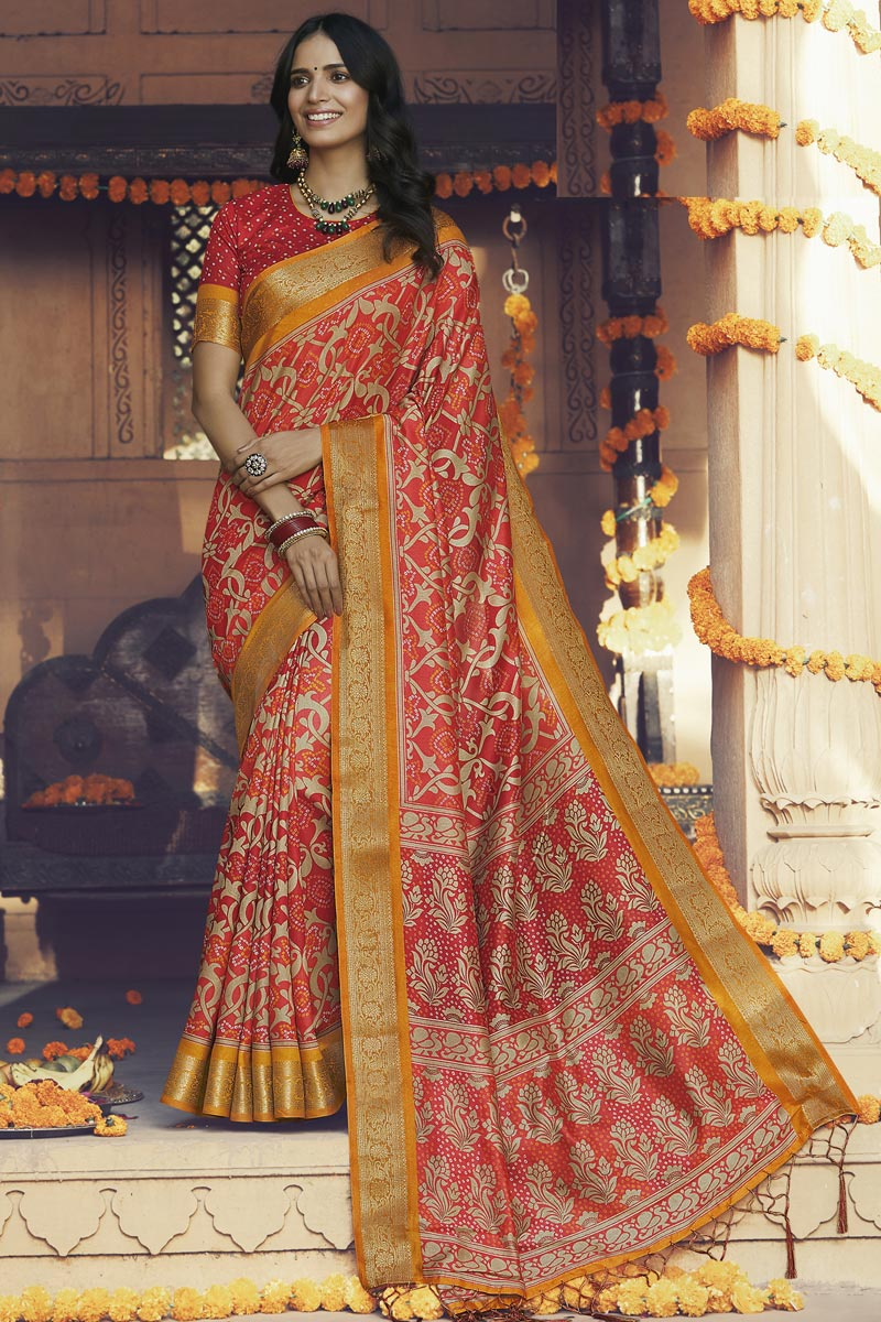 Red Color Daily Wear Fancy Printed Saree In Art Silk Fabric