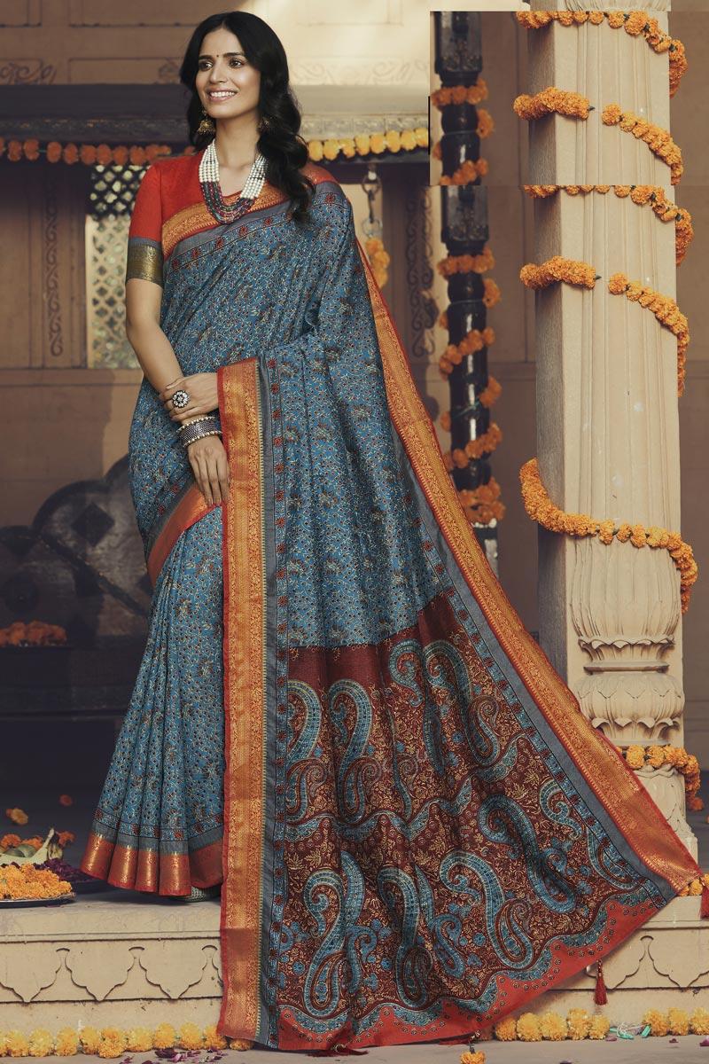 Art Silk Fabric Fancy Daily Wear Blue Color Printed Saree