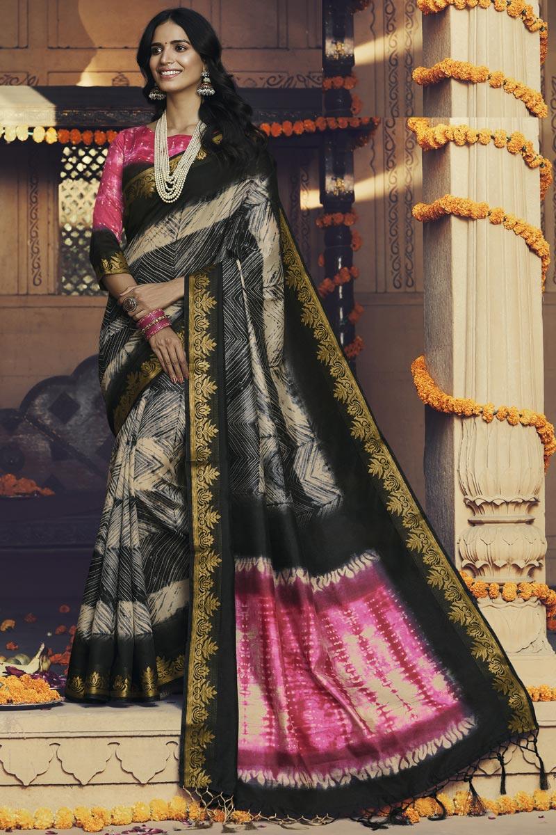 Black Color Daily Wear Art Silk Fabric Fancy Printed Saree