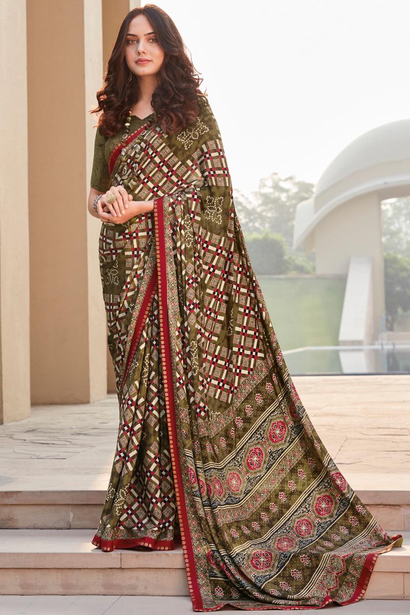 Crepe Silk Fabric Daily Wear Printed Saree In Mehendi Green Color