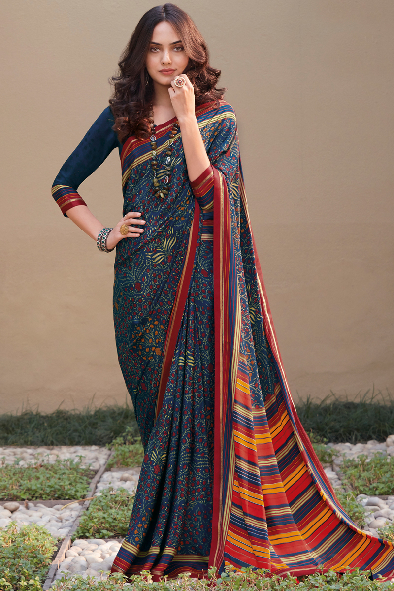 Crepe Silk Fabric Navy Blue Color Daily Wear Printed Saree