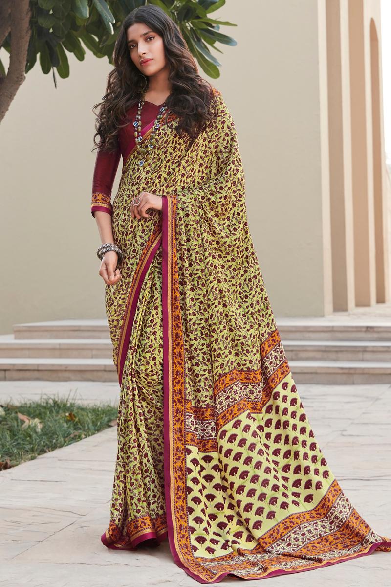Crepe Silk Fabric Regular Wear Beige Color Printed Saree