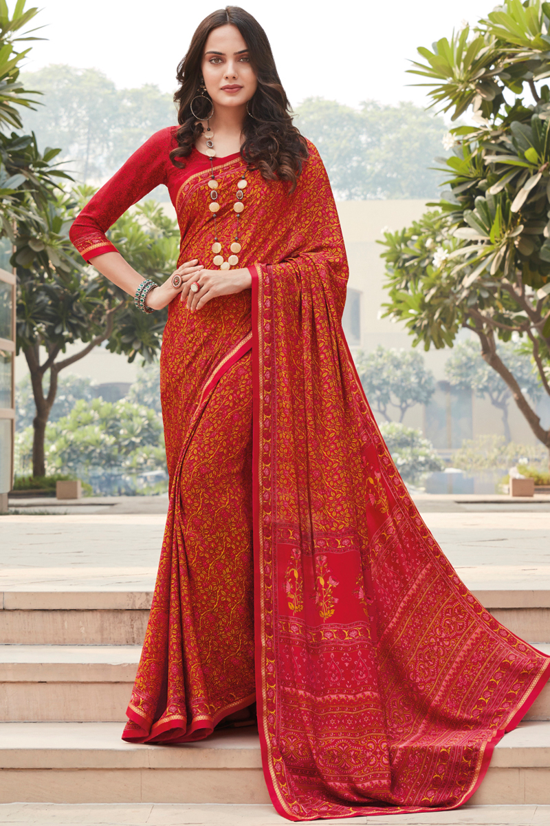 Red Color Casual Wear Printed Saree In Crepe Silk Fabric