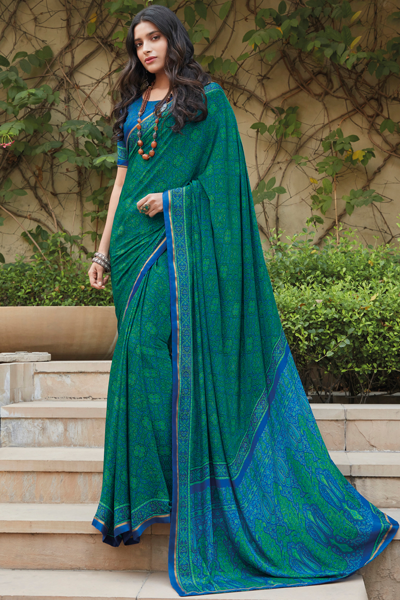 Fancy Crepe Silk Fabric Teal Color Printed Daily Wear Saree