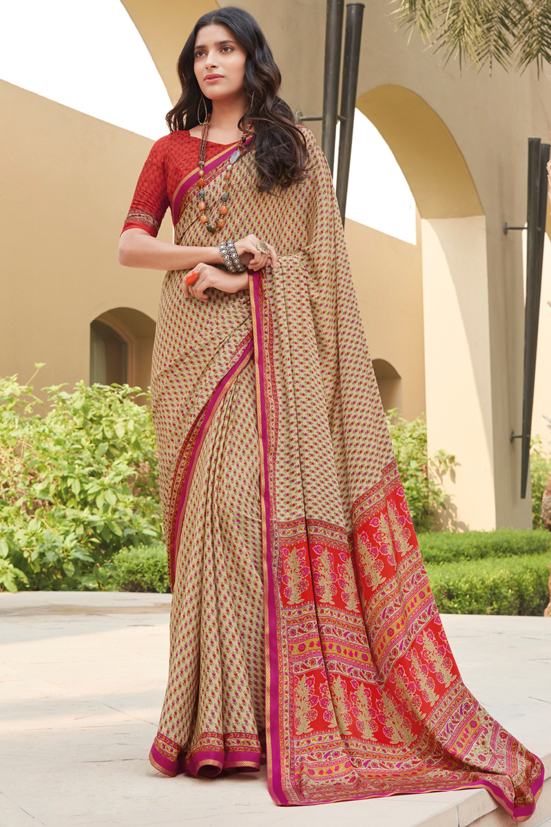 Crepe Silk Fabric Cream Color Daily Wear Fancy Printed Saree