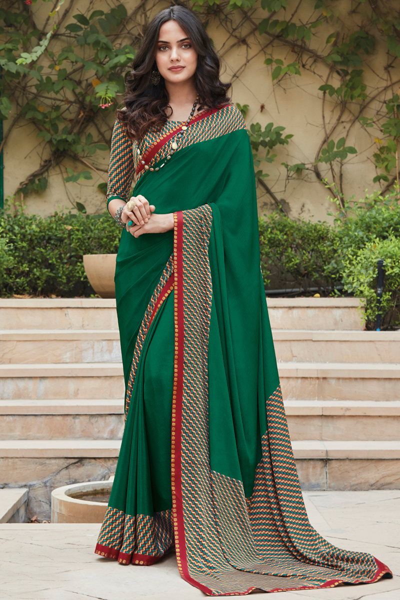 Dark Green Color Fancy Crepe Silk Fabric Printed Daily Wear Saree
