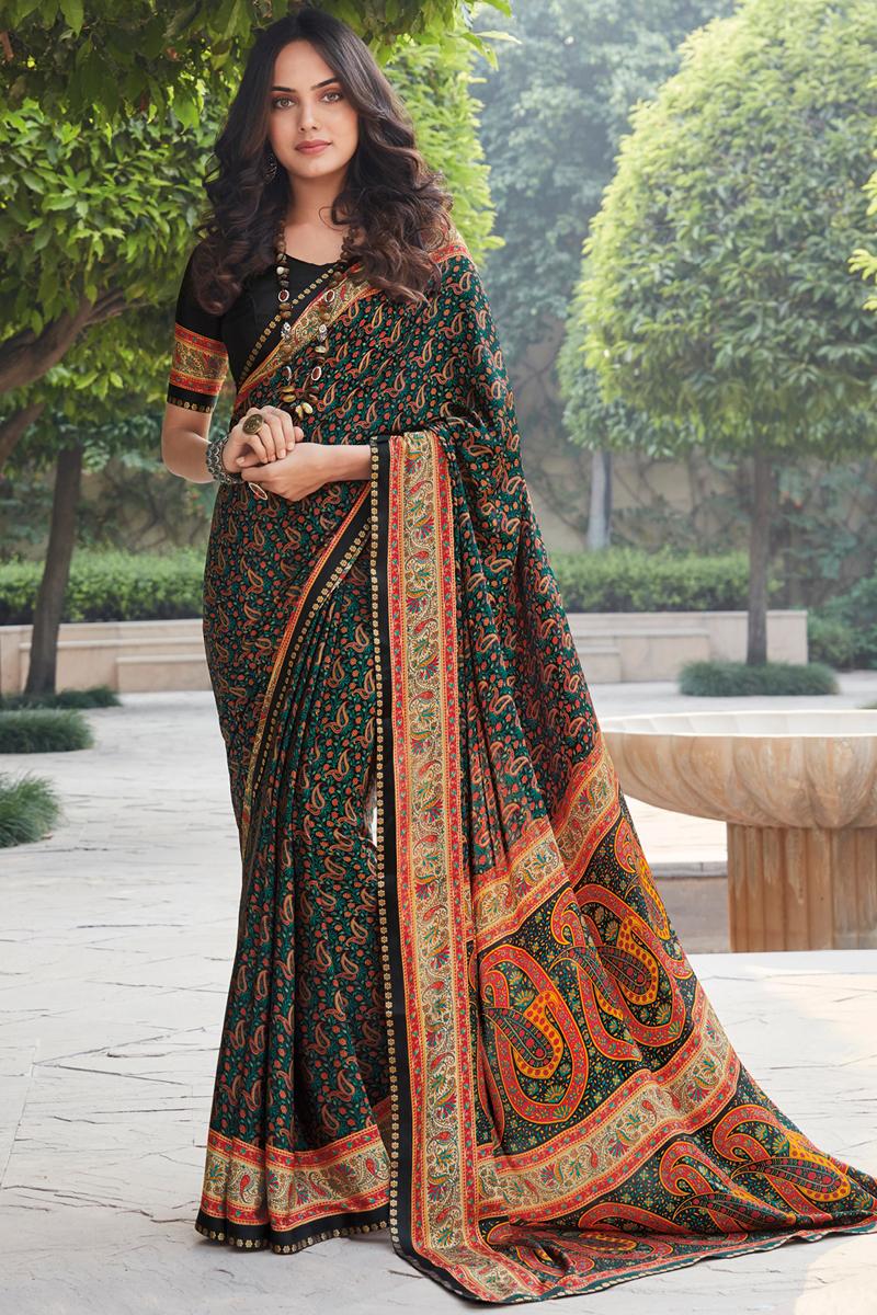 Black Color Casual Wear Printed Saree In Crepe Silk Fabric