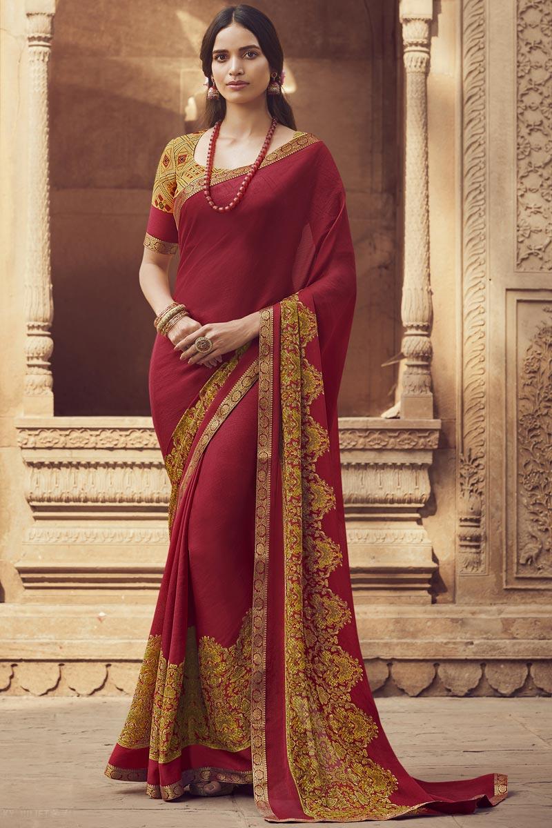 Regular Wear Chiffon Fabric Fancy Printed Saree In Maroon Color