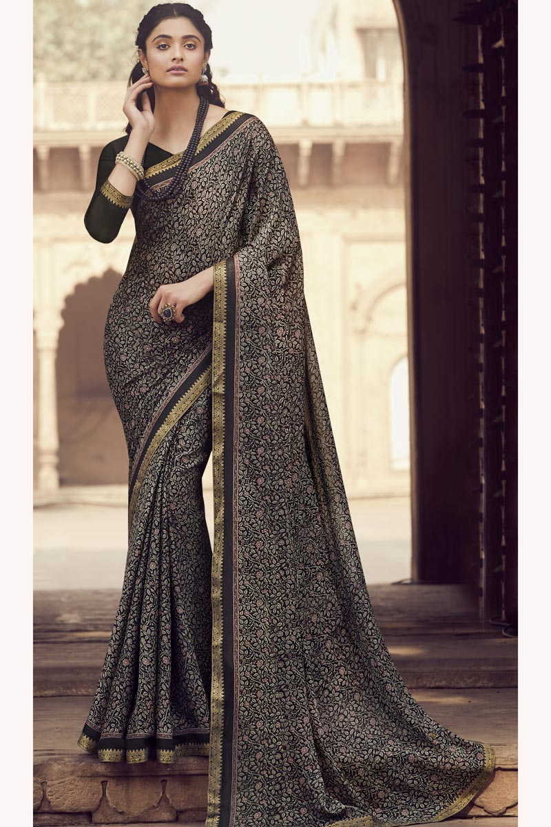 Black Color Regular Wear Fancy Printed Saree In Chiffon Fabric