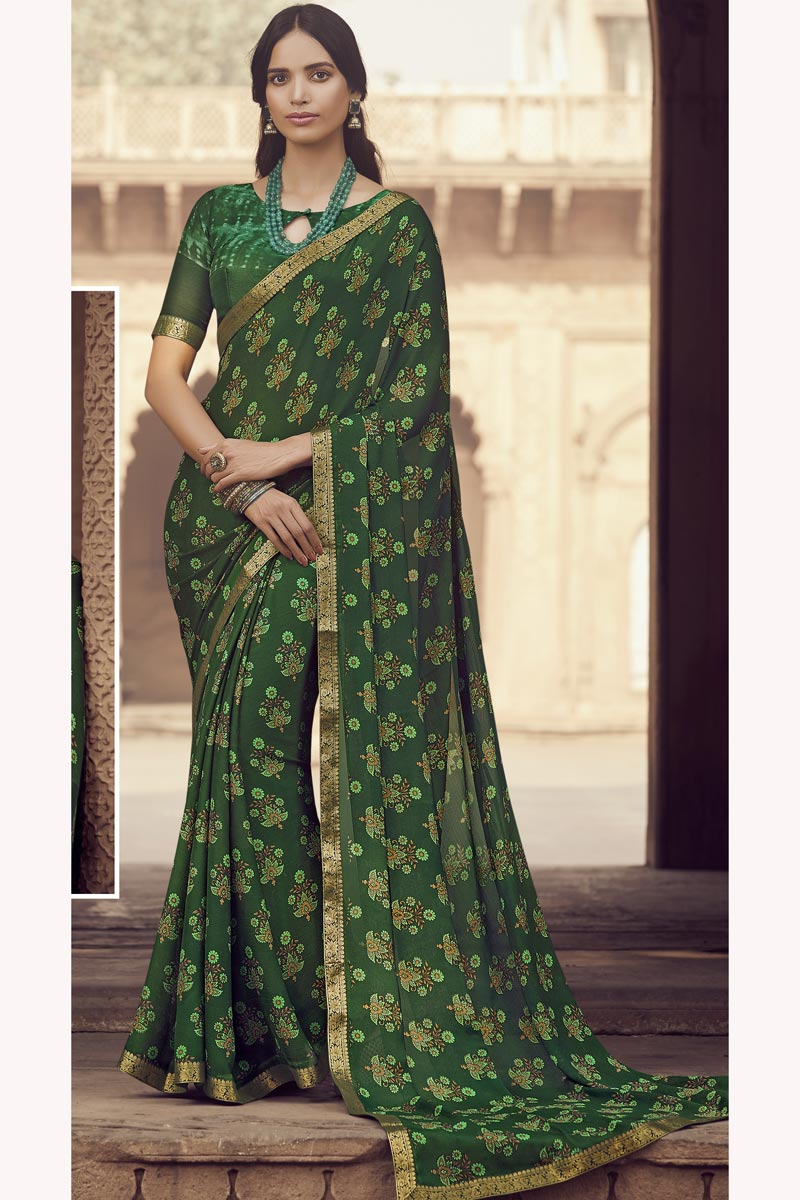Chiffon Fabric Fancy Regular Wear Green Color Printed Saree