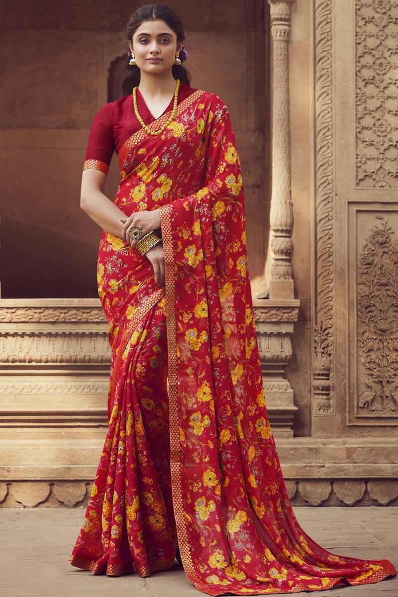 Red Color Regular Wear Chiffon Fabric Fancy Printed Saree