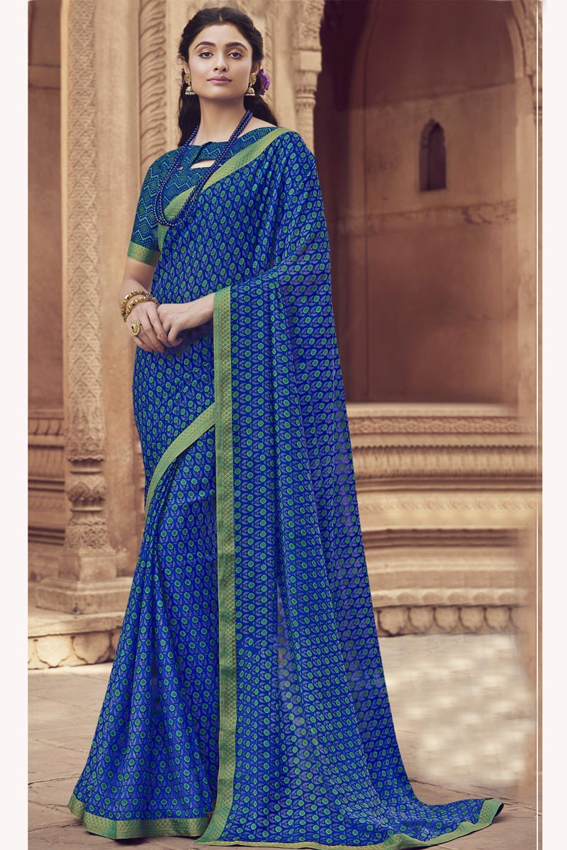 Chiffon Fabric Regular Wear Fancy Blue Color Printed Saree
