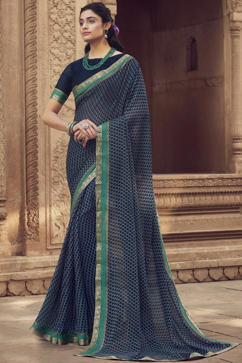 Regular Wear Navy Blue Color Fancy Printed Saree In Chiffon Fabric
