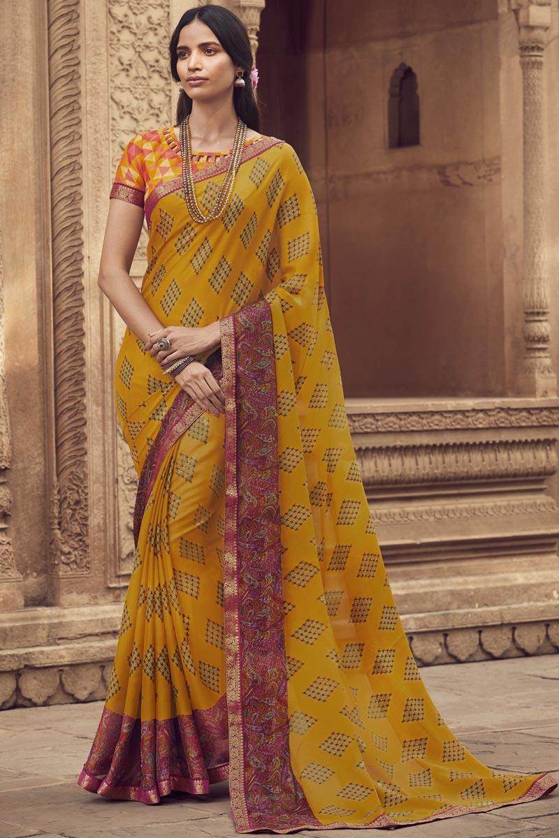 Chiffon Fabric Regular Wear Fancy Printed Saree In Yellow Color