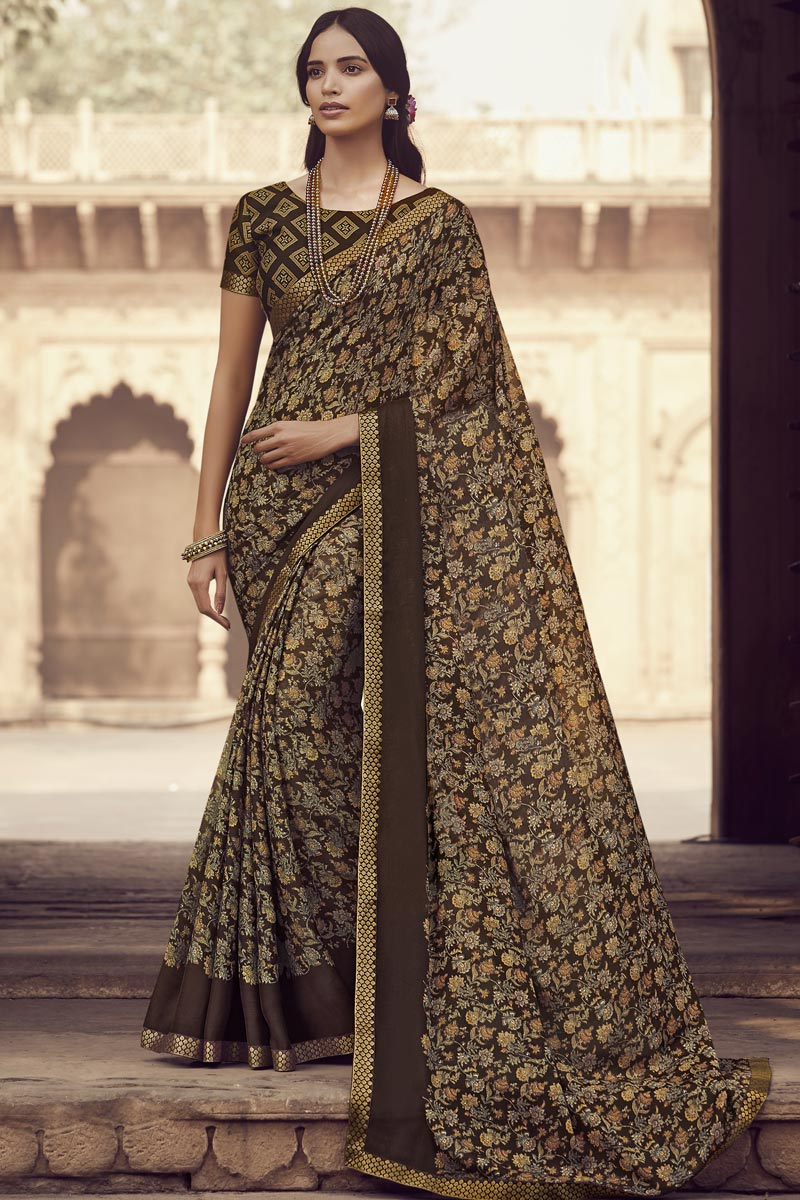 Brown Color Fancy Regular Wear Chiffon Fabric Printed Saree