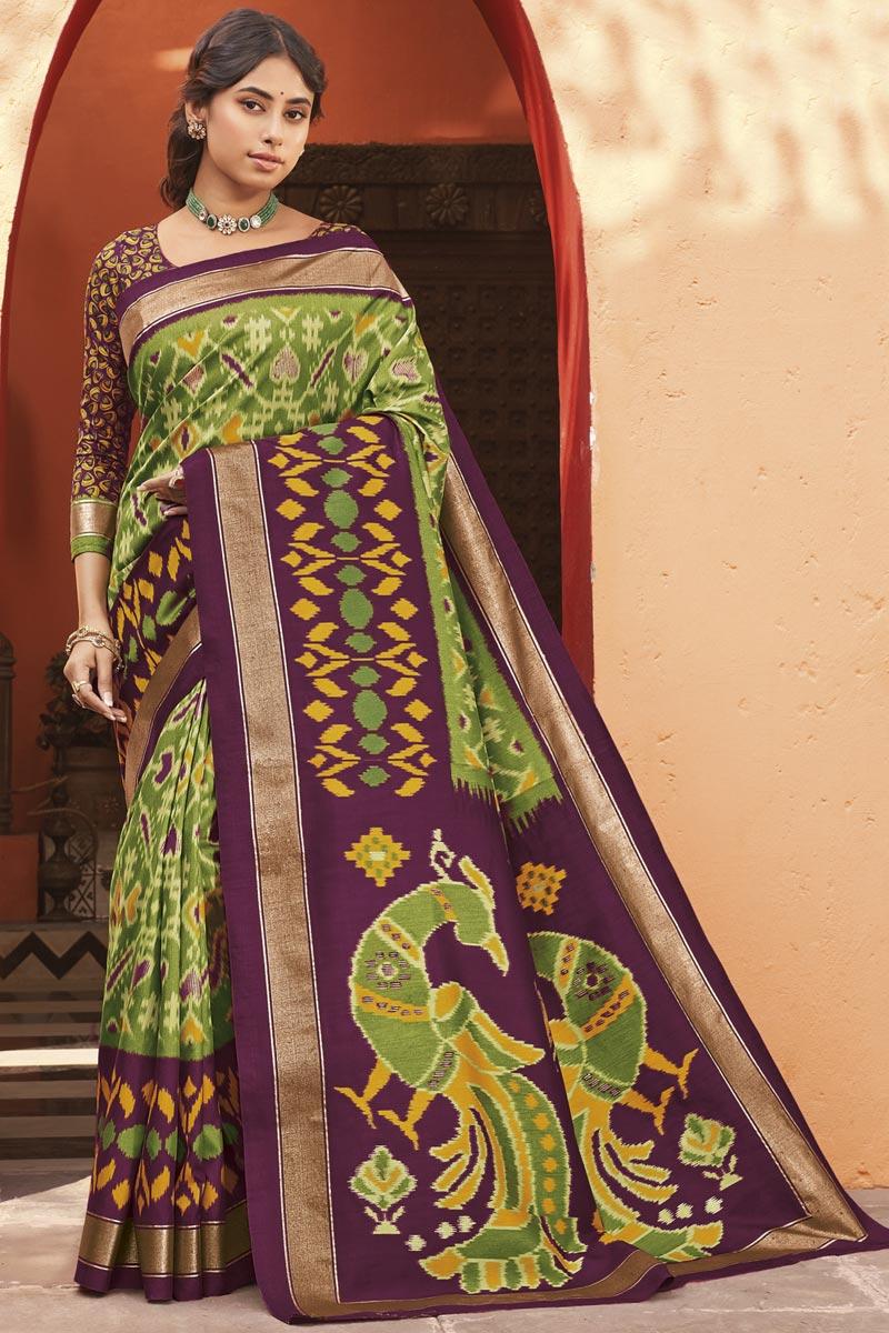 Art Silk Fabric Regular Wear Green Color Printed Saree