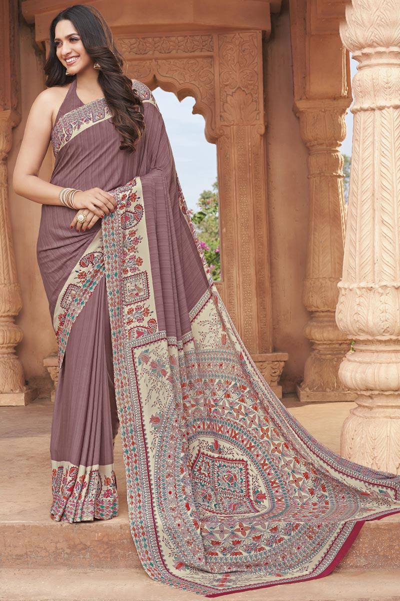 Fancy Crepe Fabric Lavender Color Daily Wear Printed Saree