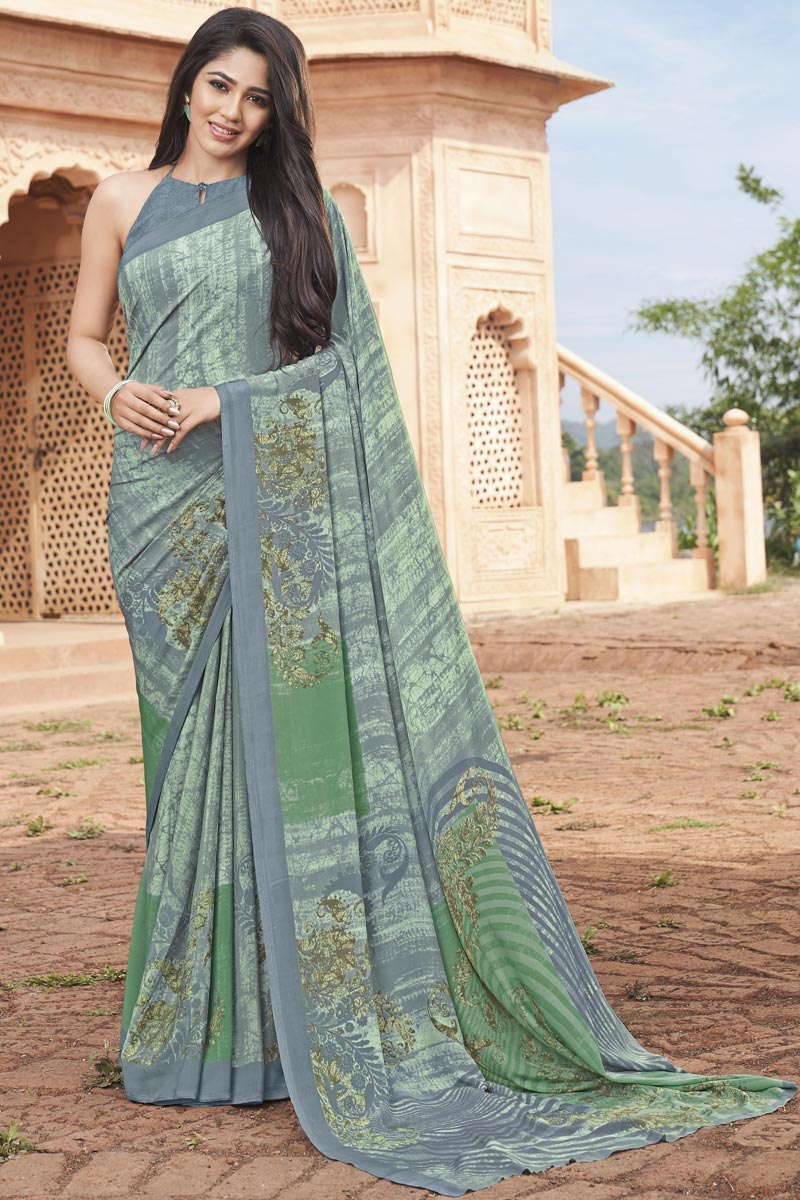 Crepe Fabric Daily Wear Printed Saree In Sea Green Color