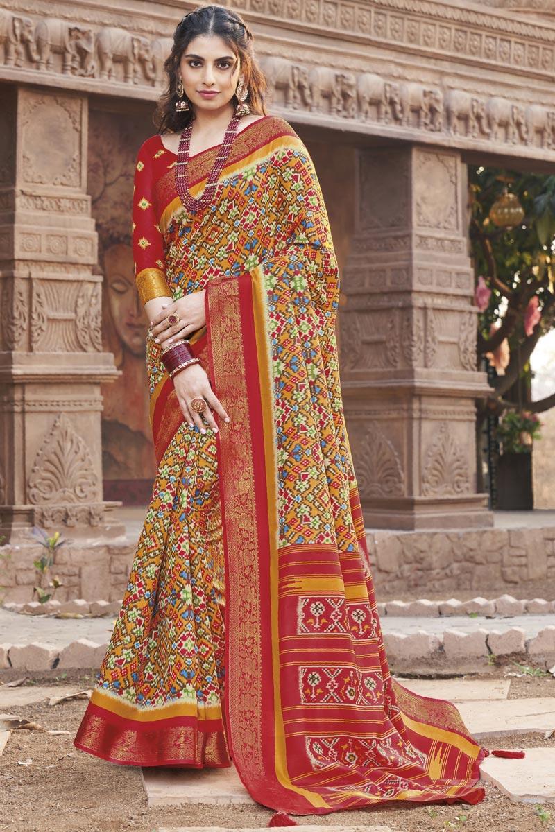 Multi Color Art Silk Fancy Printed Casual Saree