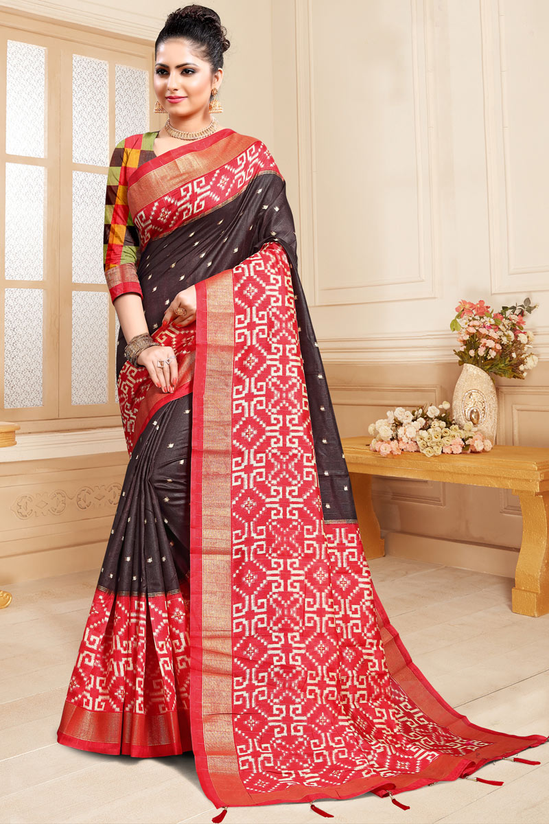 Weaving Work Designs On Dark Brown Color Function Wear Saree In Cotton Silk With Classic Blouse