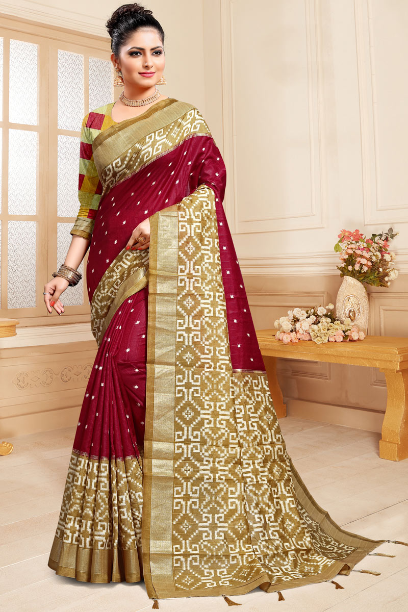 Maroon Color Designer Party Wear Saree In Cotton Silk With Weaving Work