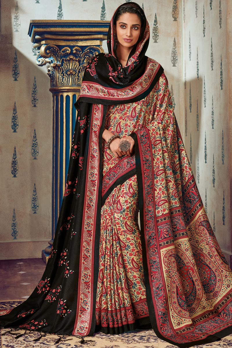 Fancy Art Silk Festive Wear Beige Printed Saree With Pashmina Silk Shawl