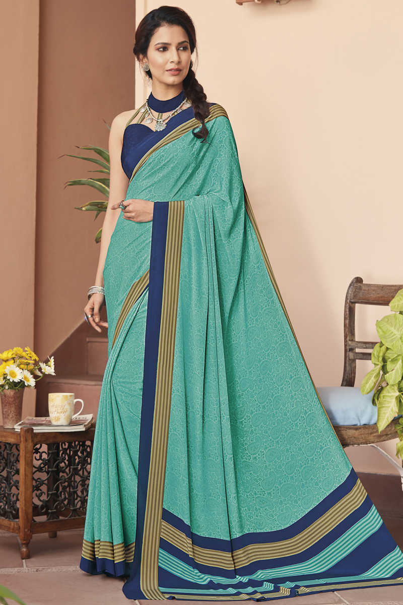 Fancy Crepe Fabric Printed Daily Wear Light Turquoise Color Saree