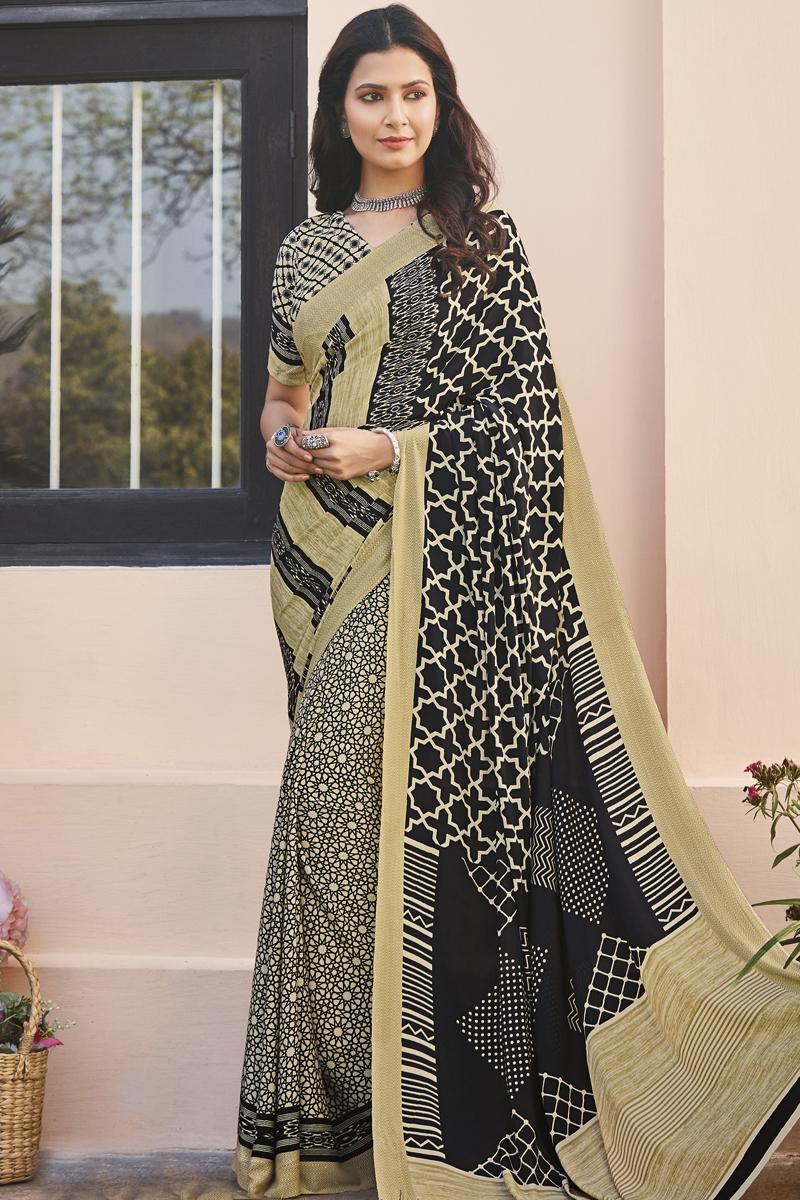 Black Color Regular Wear Crepe Fabric Printed Saree