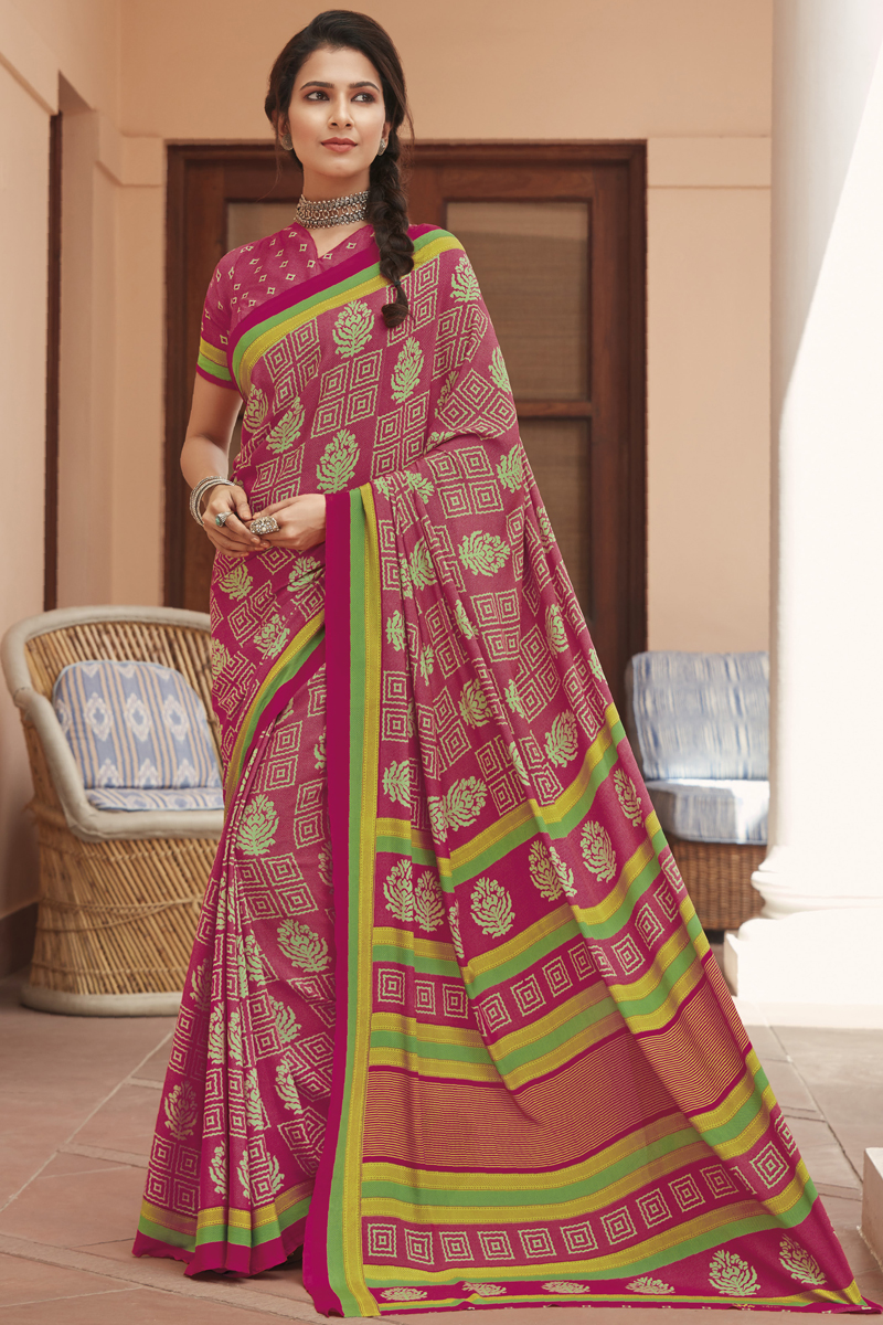 Rani Color Casual Printed Saree In Crepe Fabric