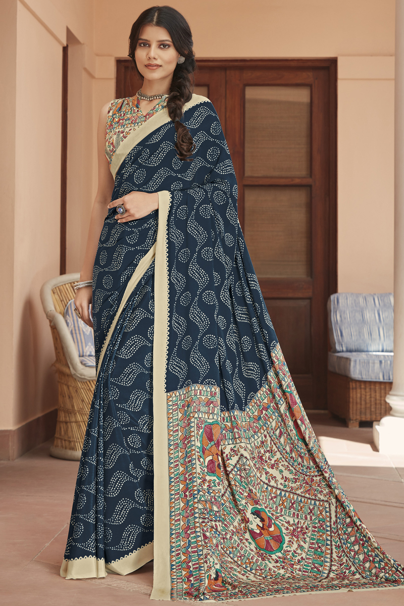 Crepe Fabric Navy Blue Color Daily Wear Printed Saree