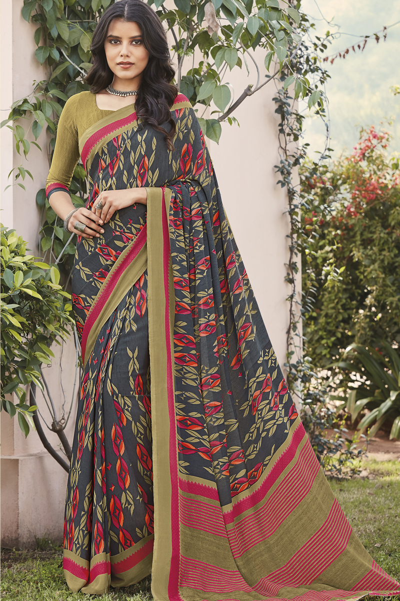 Crepe Fabric Grey Color Daily Wear Fancy Printed Saree