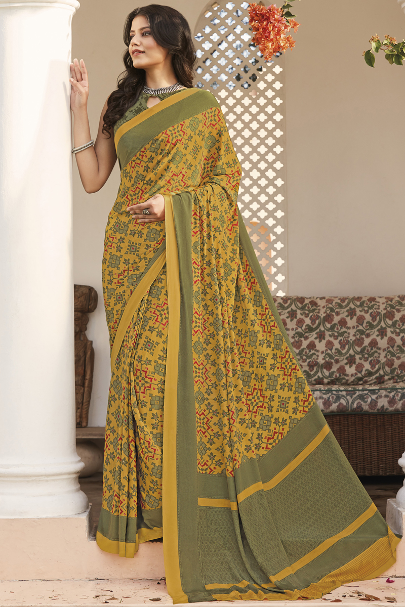 Crepe Fabric Office Wear Mustard Color Printed Saree
