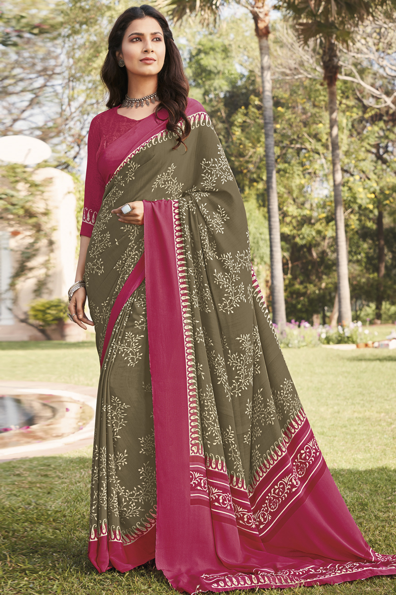 Fancy Crepe Fabric Printed Daily Wear Dark Beige Color Saree