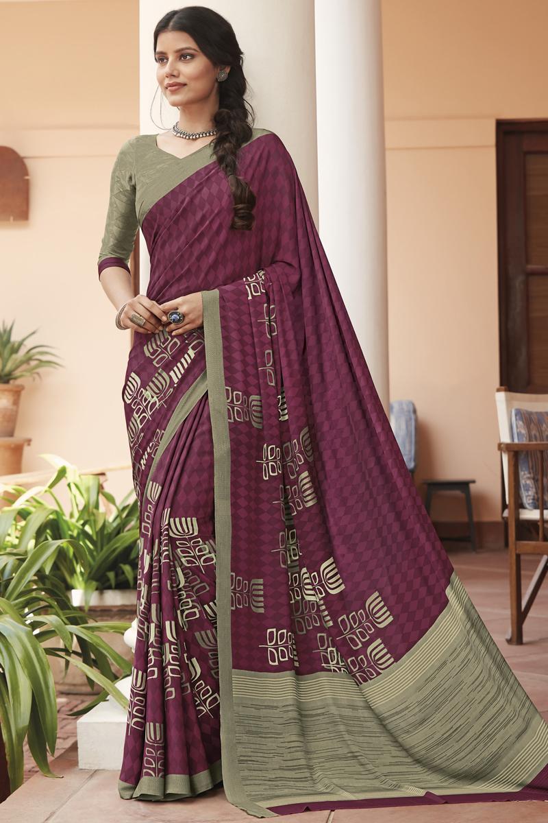 Purple Color Casual Printed Saree In Crepe Fabric