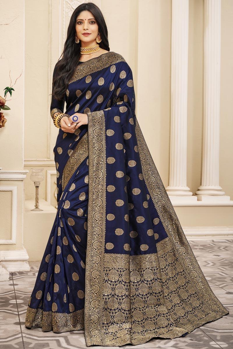 Fancy Art Silk Fabric Puja Wear Navy Blue Color Weaving Work Saree