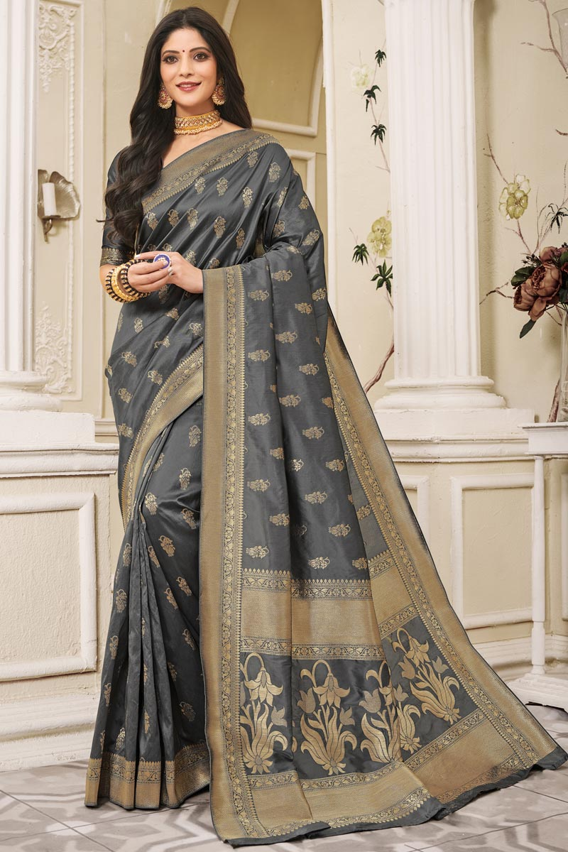 Grey Color Festive Wear Art Silk Fabric Weaving Work Saree