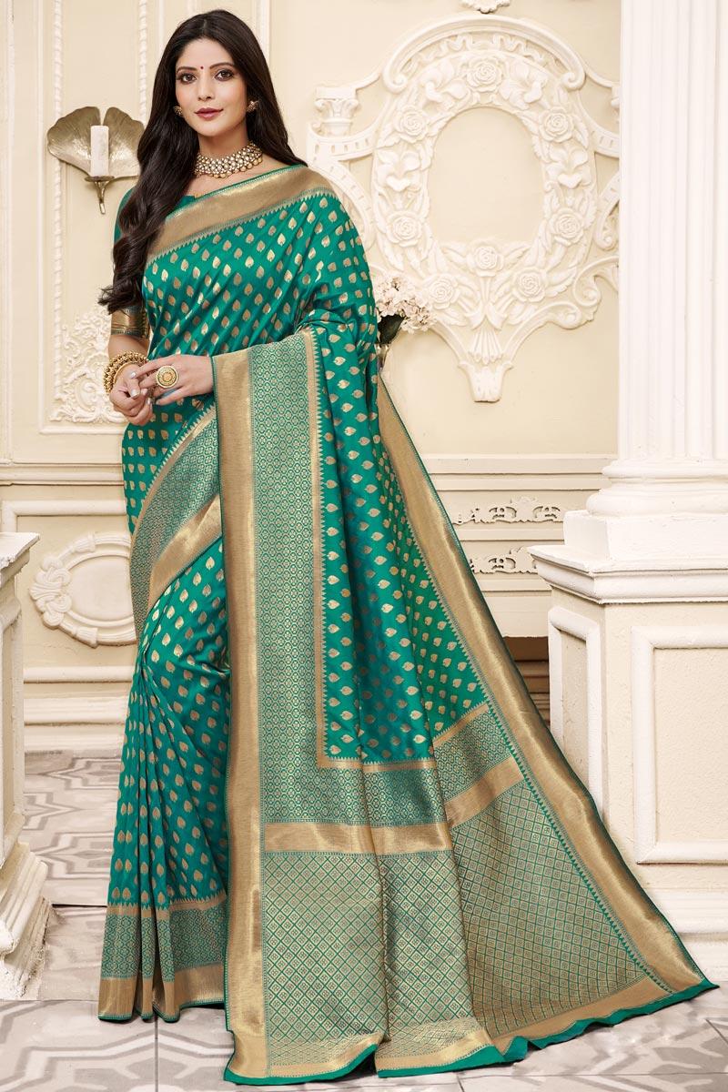 Art Silk Fabric Festive Wear Green Color Weaving Work Saree
