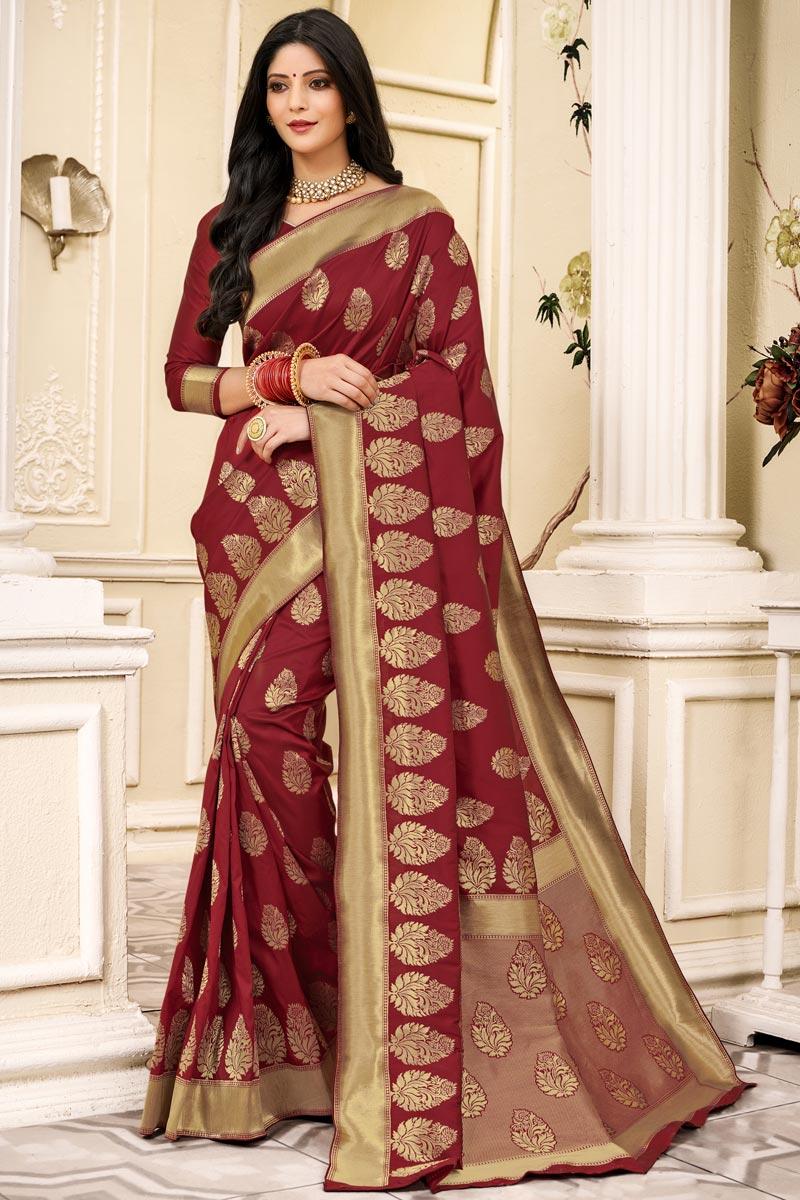Party Wear Maroon Color Art Silk Fabric Weaving Work Saree