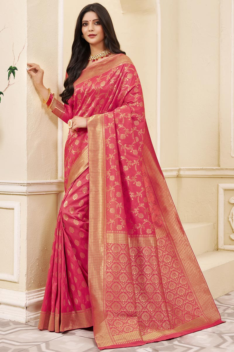 Party Wear Art Silk Fabric Weaving Work Saree In Pink Color