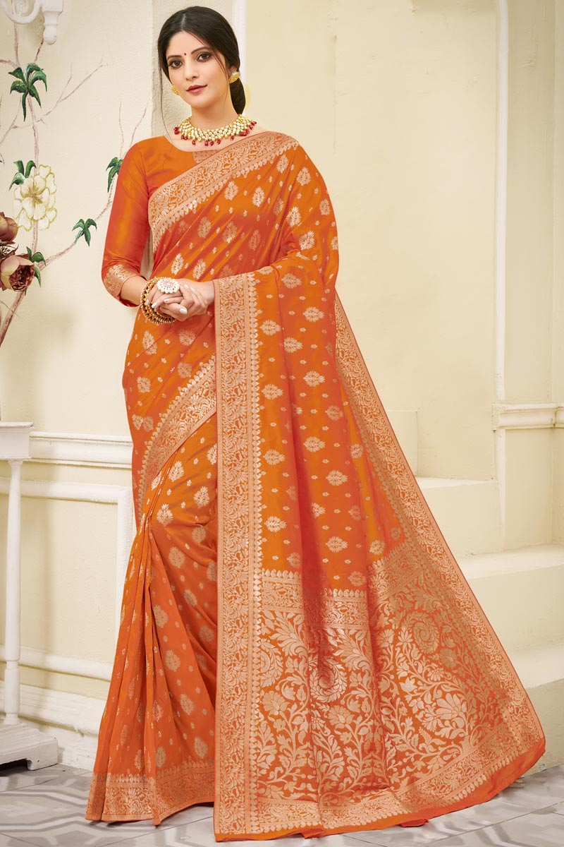 Orange Color Wedding Wear Art Silk Fabric Weaving Work Saree
