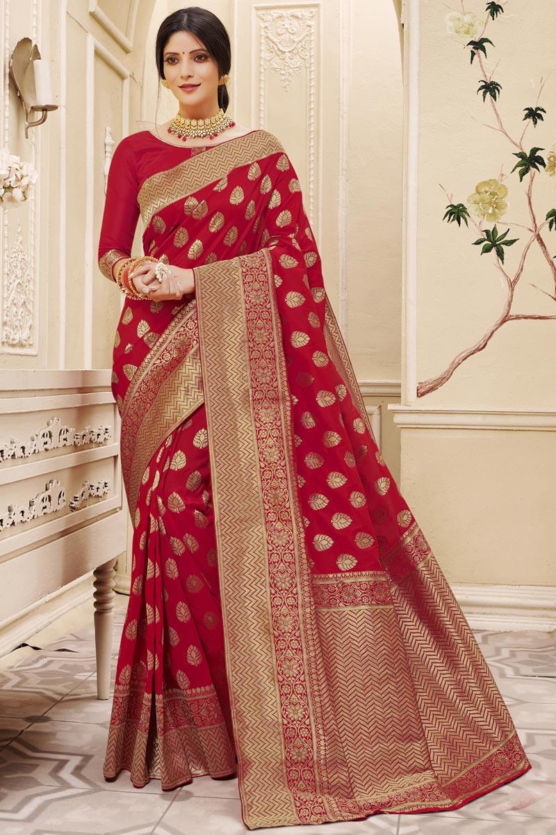 Art Silk Fabric Reception Wear Maroon Color Weaving Work Saree