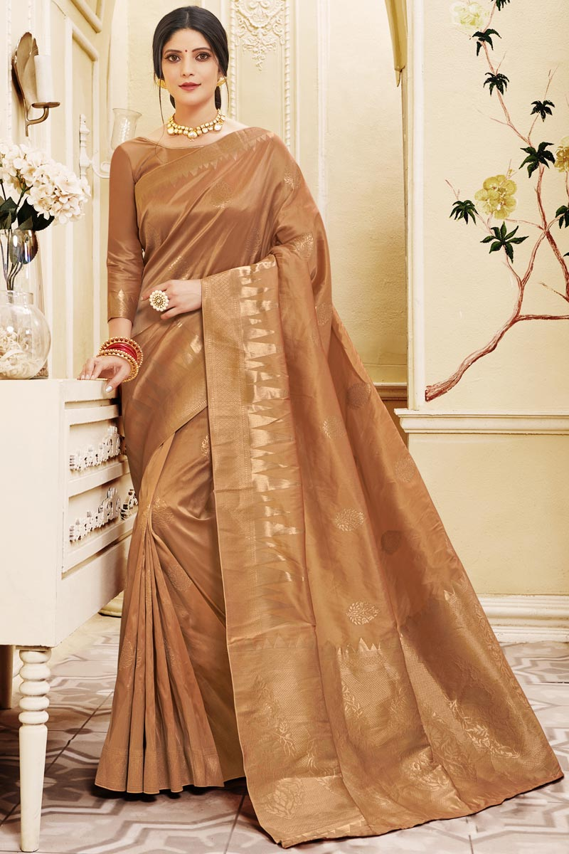Occasion Wear Art Silk Fabric Weaving Work Saree In Rust Color