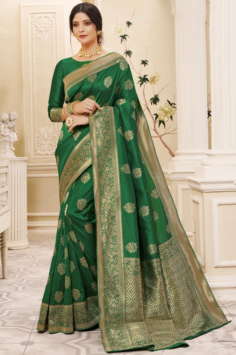 Art Silk Fabric Puja Wear Green Color Weaving Work Saree