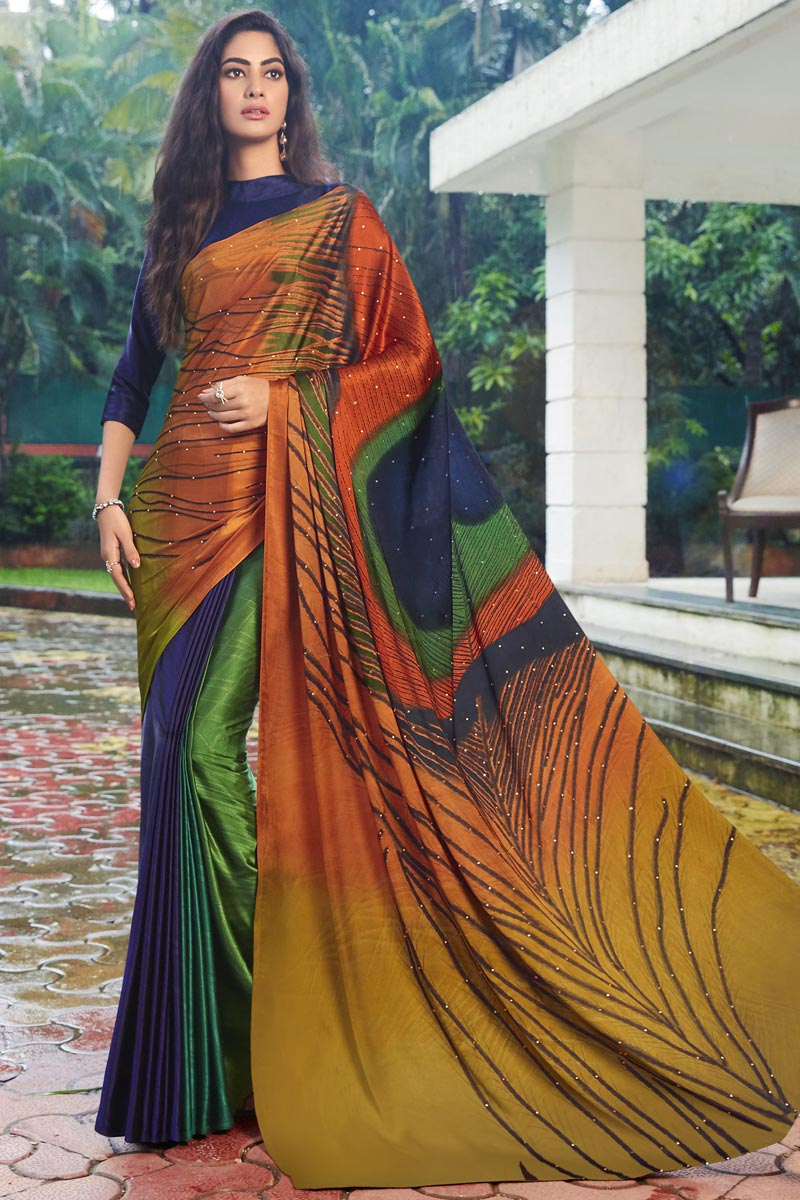 Satin Fabric Multi Color Daily Wear Fancy Printed Saree