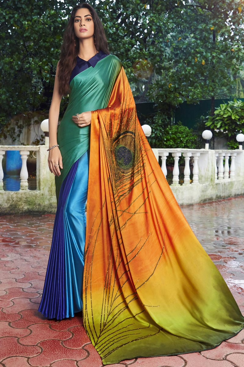Fancy Satin Fabric Printed Daily Wear Multi Color Saree