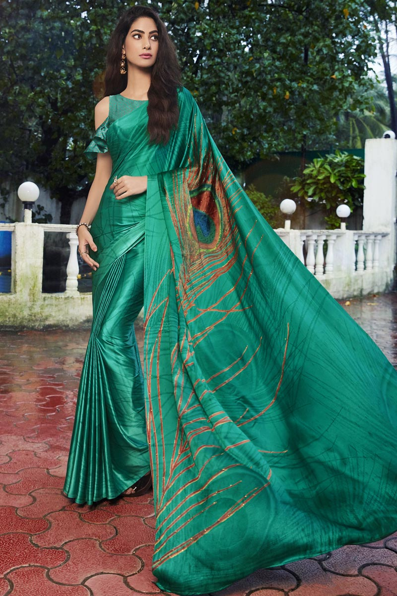 Cyan Color Fancy Satin Fabric Printed Daily Wear Saree