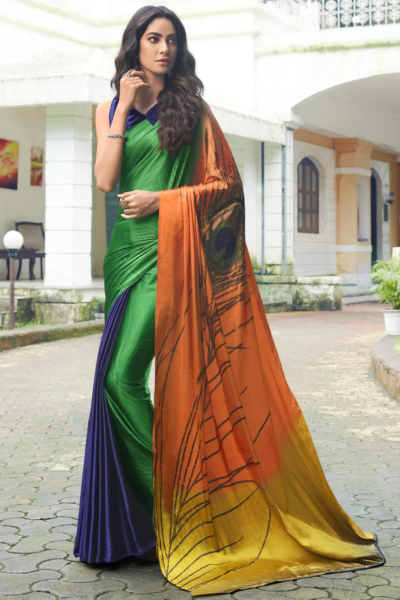 Multi Color Regular Wear Satin Fabric Printed Saree
