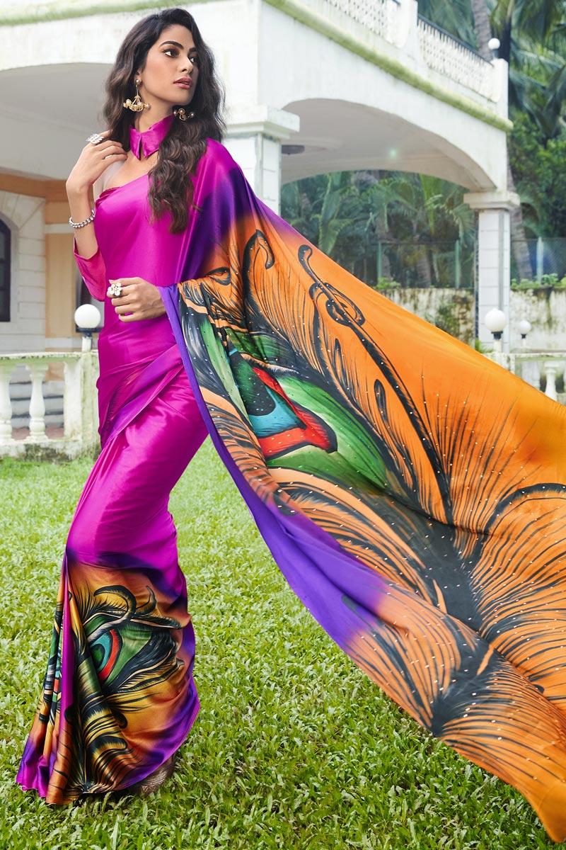 Satin Fabric Rani Color Regular Wear Printed Saree